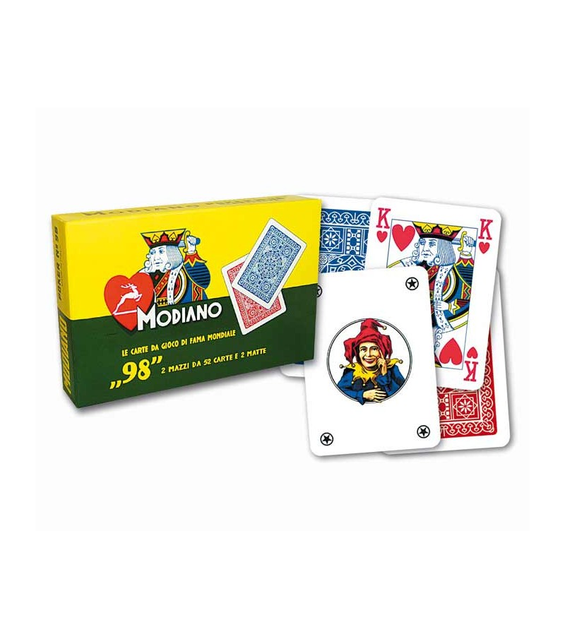 Playing card for poker blue and red