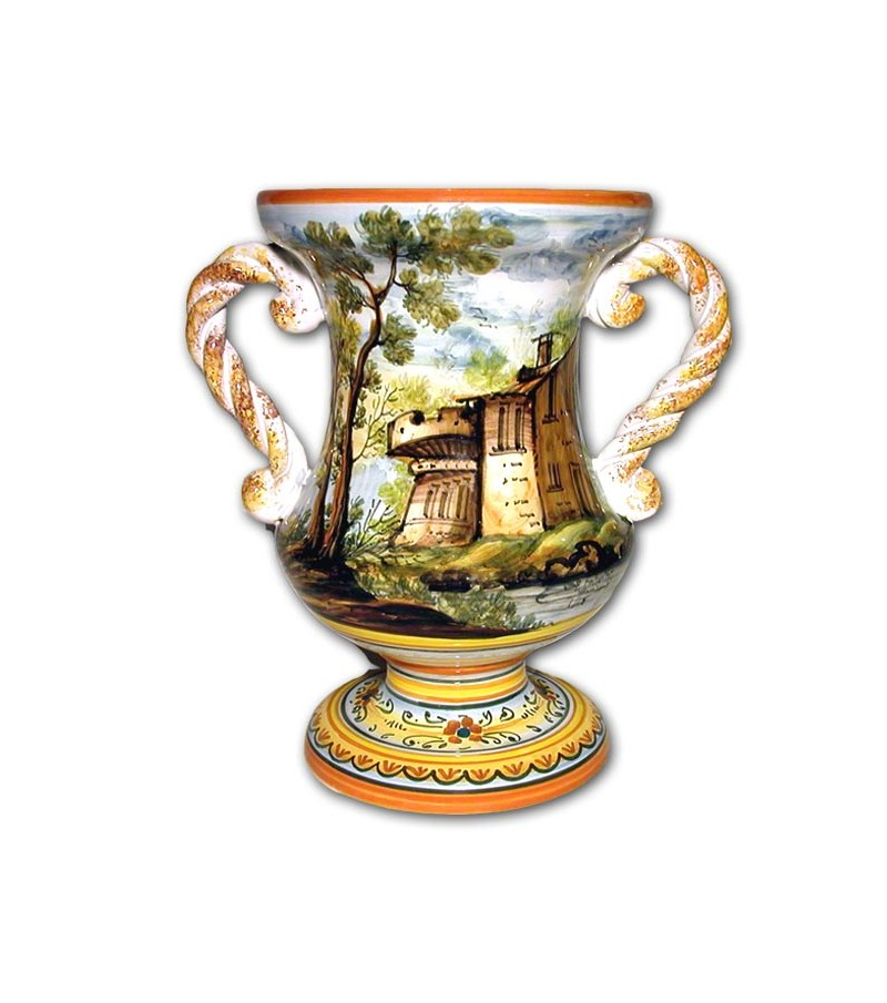 Hand-painted pottery Amphora with Handles