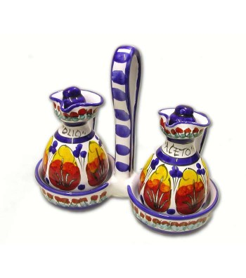 Hand-painted pottery set Oil/Vinegar