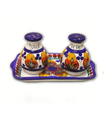 Hand-painted pottery set Salt/Pepper