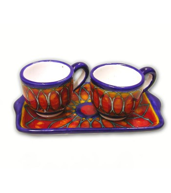 Hand-painted pottery coffee set