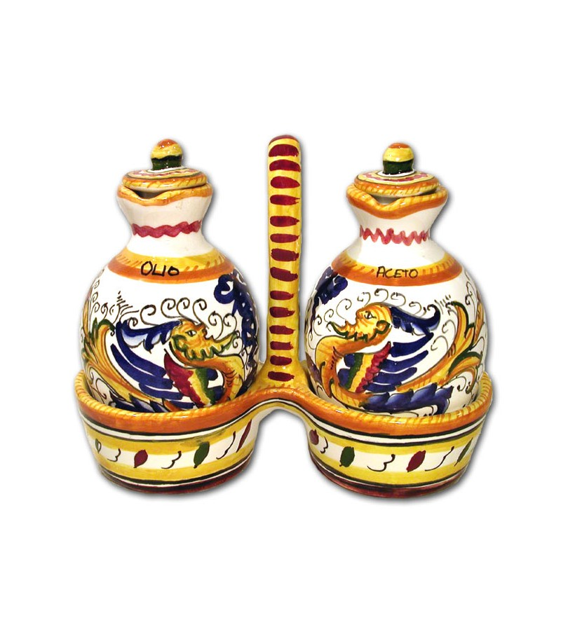 Hand painted pottery set Oil/Vinegar