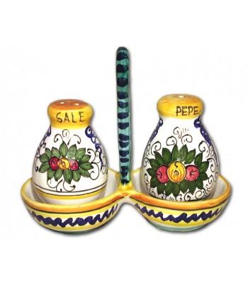 Hand painted pottery set Salt/Pepper
