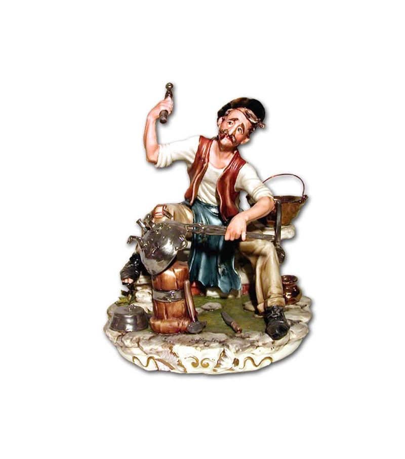 """Coppersmith"" in Capodimonte Porcelain"