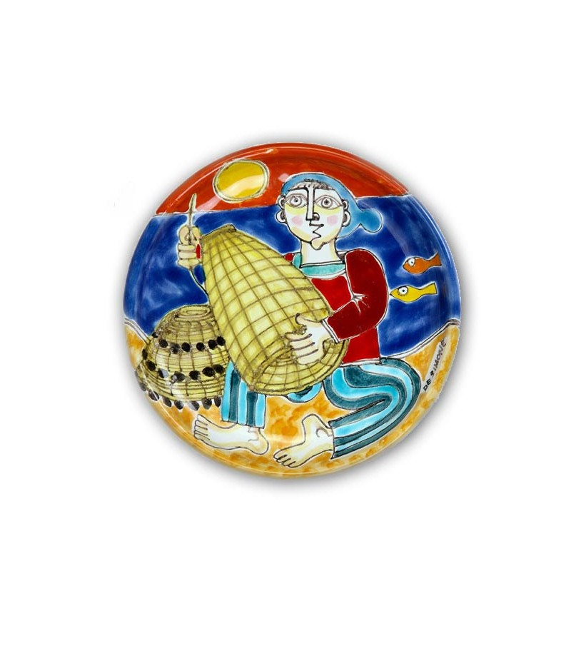 Hand-painted pottery plate