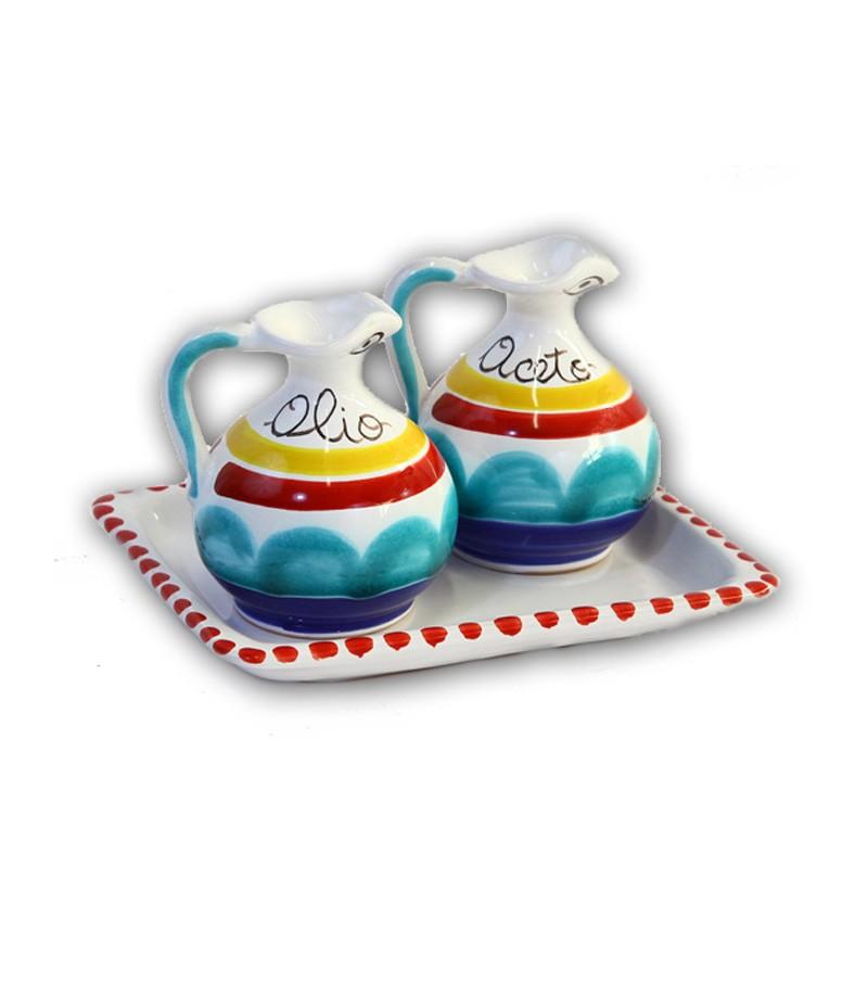 """""""Alicudi"""" Ceramic Oil/Vinegar with Tray"""