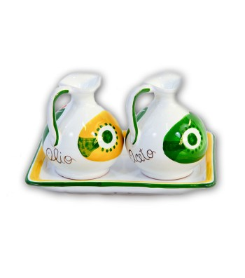 """""""Filicudi"""" Ceramic Oil/Vinegar with Tray"""
