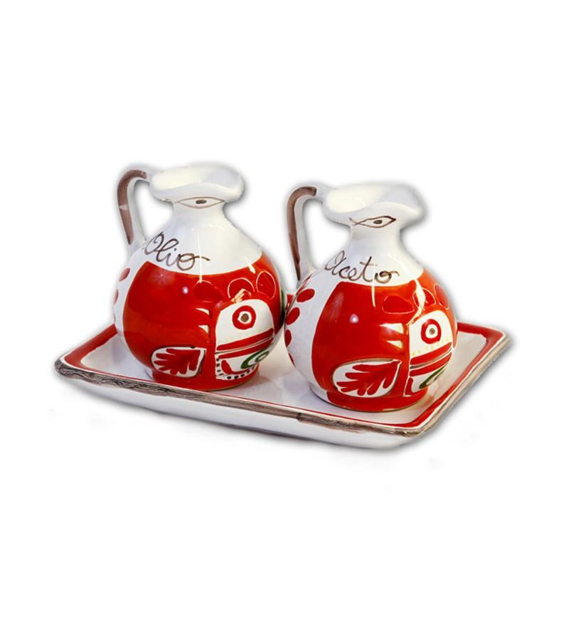"""""""Marettimo"""" Ceramic Oil/Vinegar with Tray"""