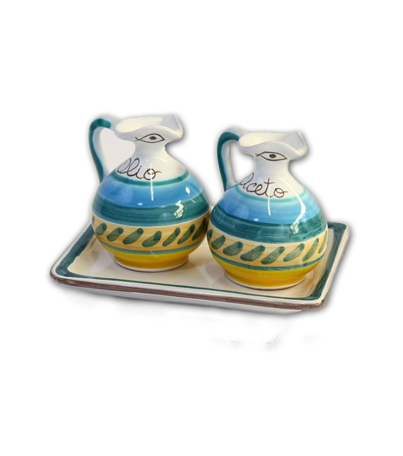 """""""Naxos"""" Ceramic Oil/Vinegar with Tray"""