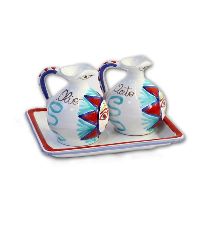 """Salina"" Ceramic Oil/Vinegar with Tray"