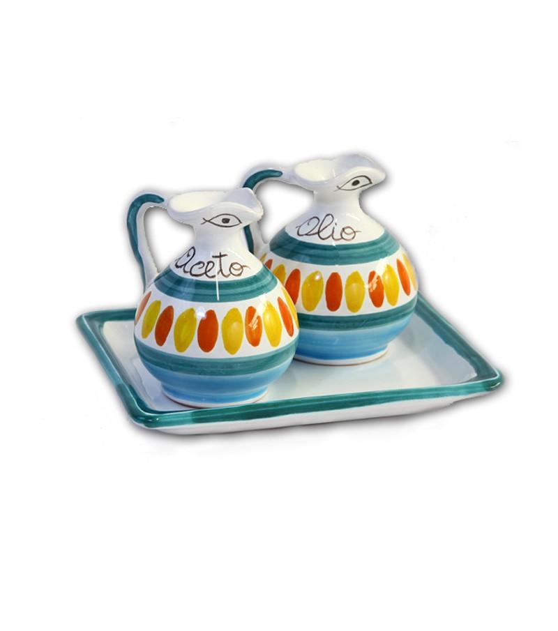 """""""Segesta"""" Ceramic Oil/Vinegar with Tray"""