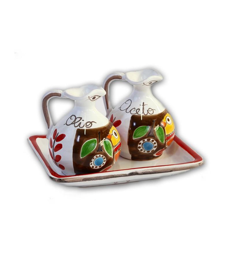 """""""Stromboli"""" Ceramic Oil/Vinegar with Tray"""