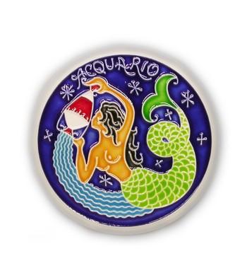 Segno Zodiacale Acquario su Piastrella di Ceramica