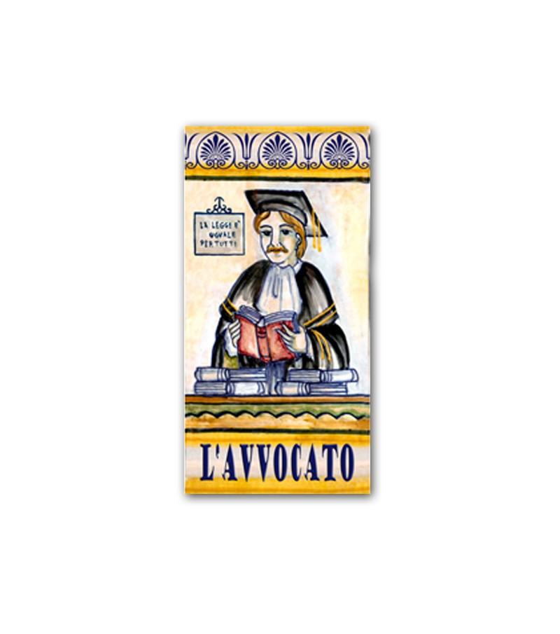 Piastrella in Ceramica Raffigurante l'Avvocato