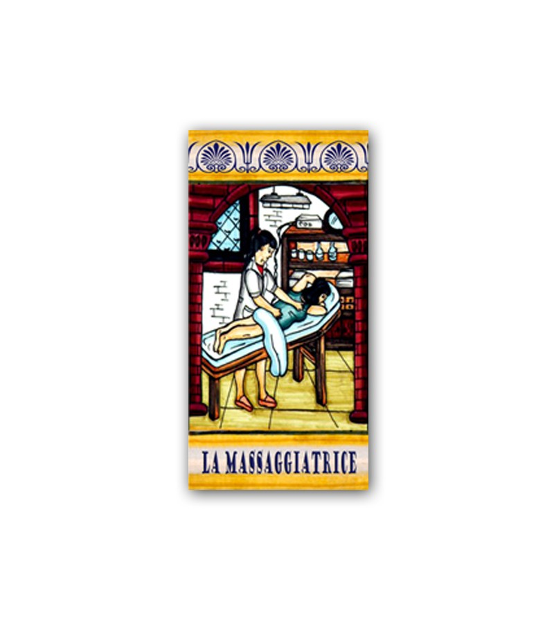 Piastrella in Ceramica Raffigurante la Massaggiatrice