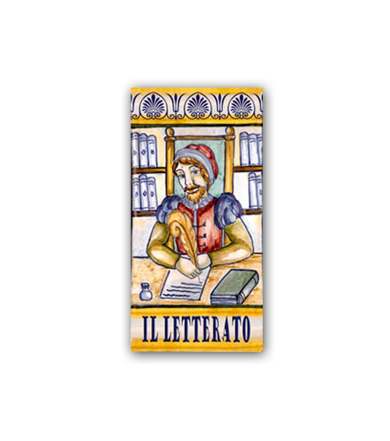 Piastrella in Ceramica Raffigurante il Letterato