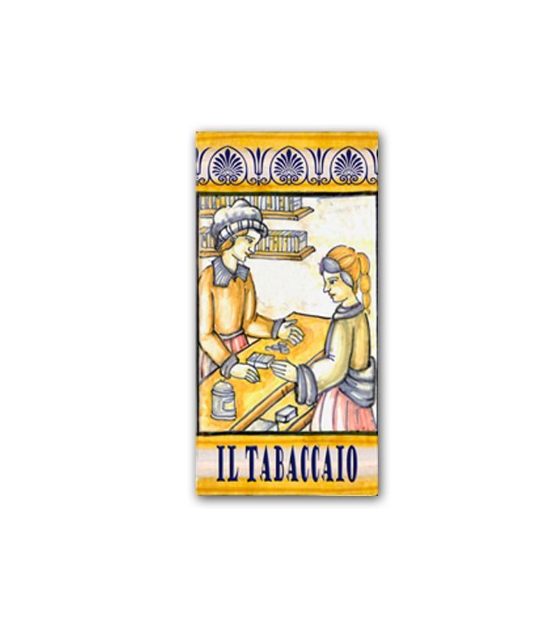Piastrella in Ceramica Raffigurante il Tabaccaio
