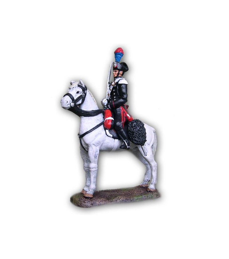 Carbineer on horseback made in tin-based alloy