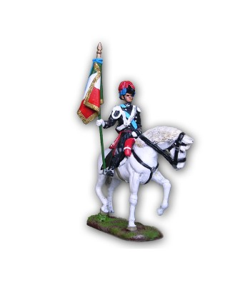 Carbineer on horseback with flag made in tin-based alloy