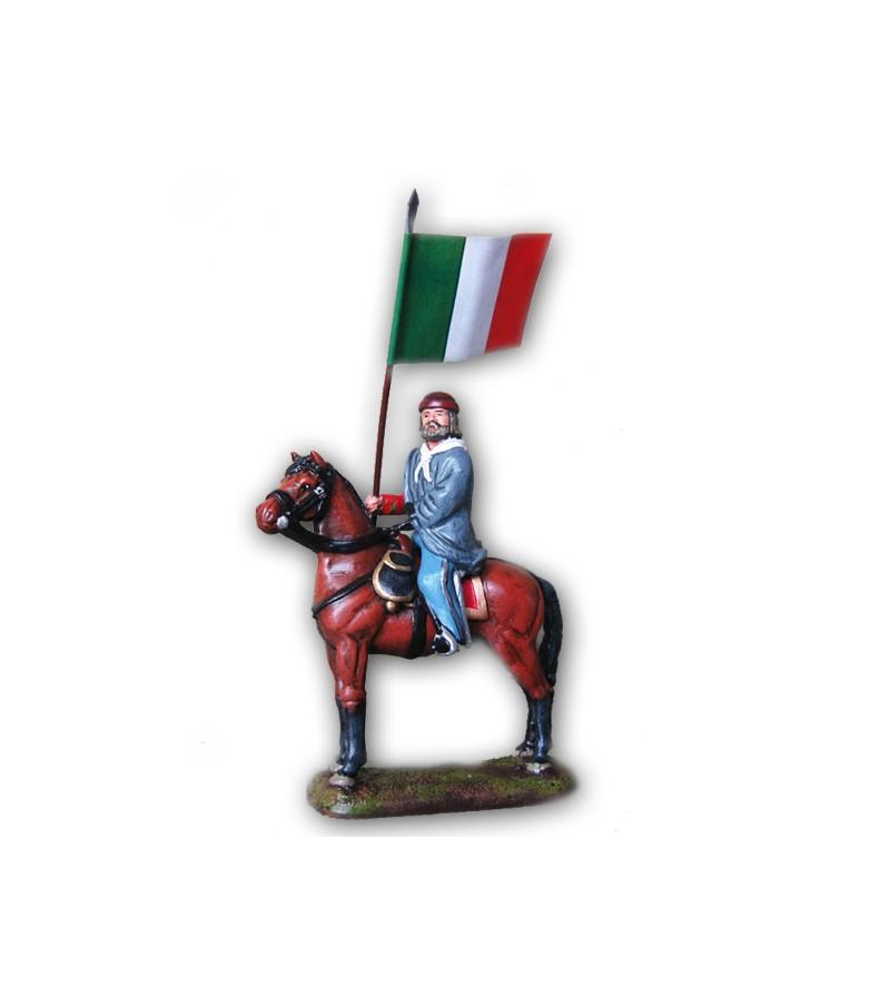 Soldatino Garibaldi a cavallo con bandiera eseguito in lega a base di Stagno