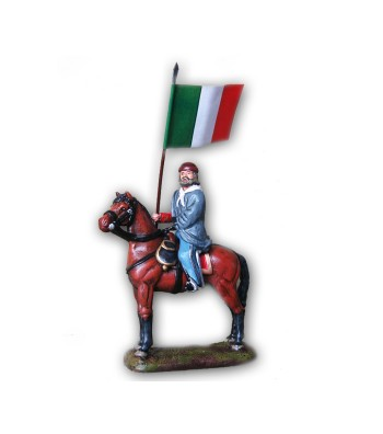 Garibaldi soldier on horse with flag made in tin-based alloy