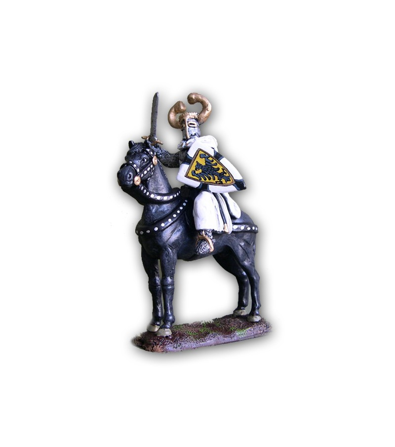 Medieval Teutonic soldier on horseback made in tin-based alloy