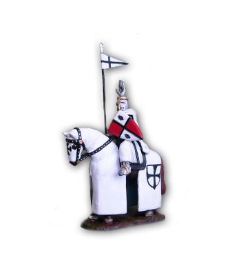 Soldatino Medioevale Teutonico a cavallo eseguito in lega a base di Stagno