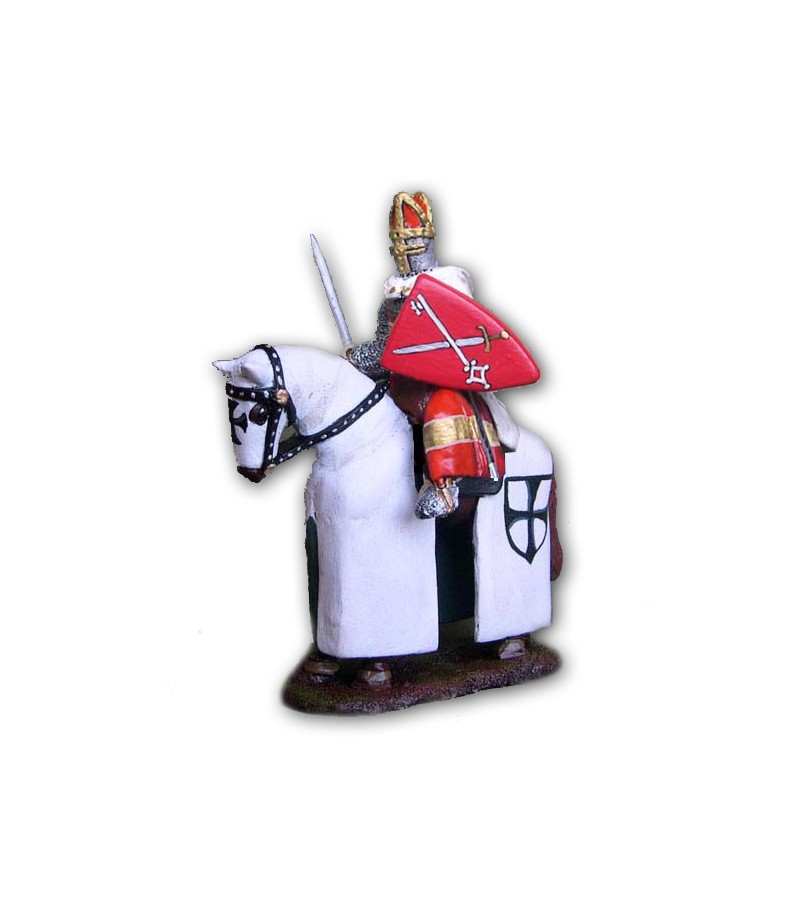 Teutonic medieval soldier on horseback made in tin-based alloy