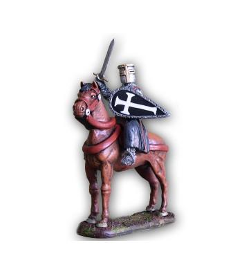 Soldatino Medioevale Ospitaliere a cavallo eseguito in lega a base di Stagno.