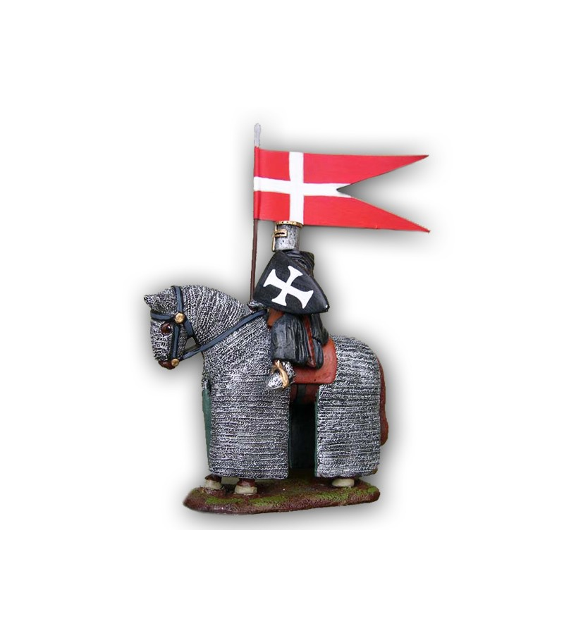 Medieval Ospitaliere soldier on horseback made in tin-based alloy