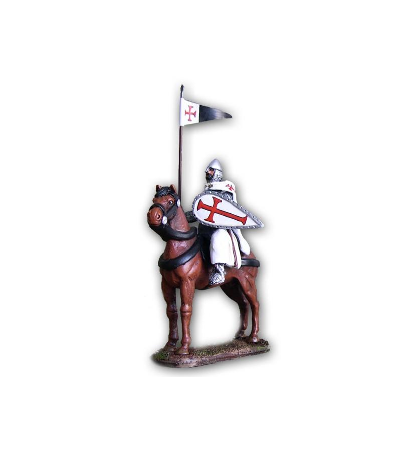 Cavaliere Templare a cavallo eseguito in lega a base di Stagno