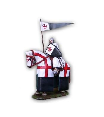 Soldatino Cavaliere Templare a cavallo eseguito in lega a base di Stagno