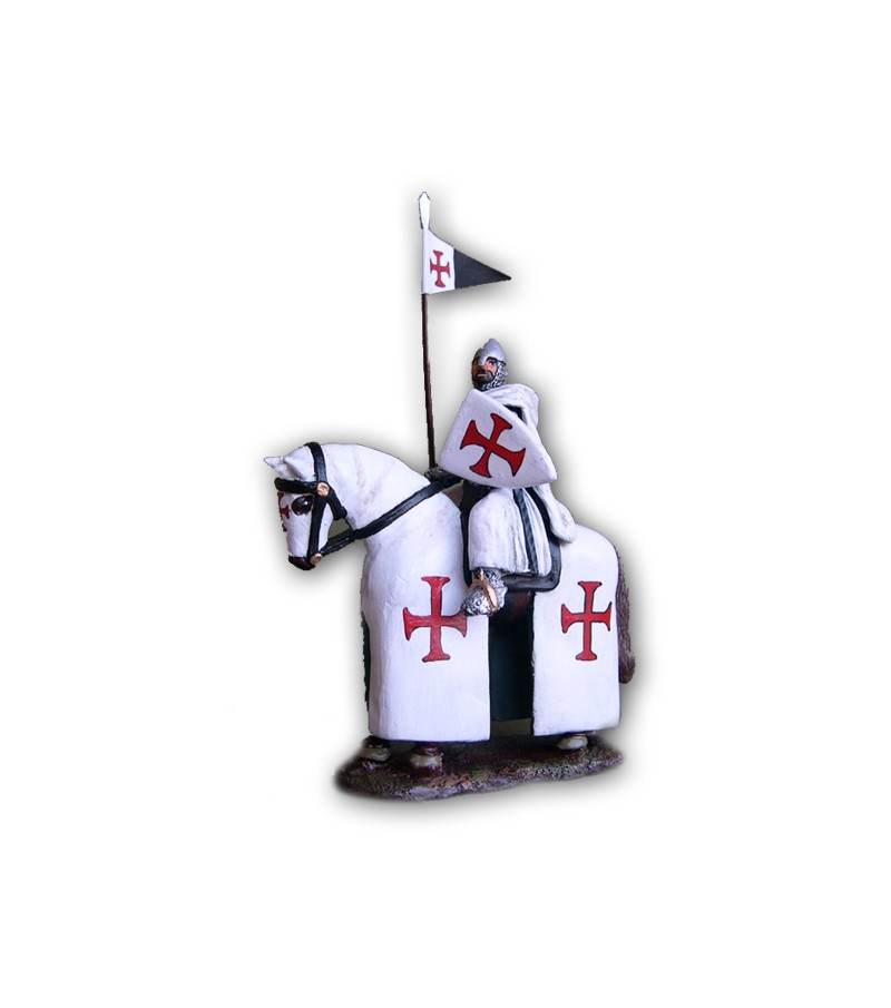 Knight Templar on horseback made in tin-based alloy