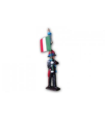 Soldatino Carabiniere con bandiera eseguito in lega a base di Stagno