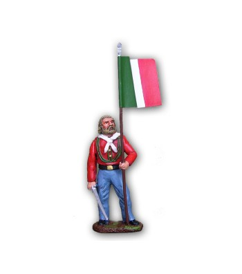Garibaldi soldier with flag made in tin-based alloy