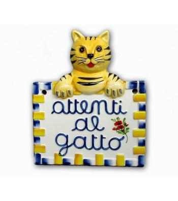 Quadretto in Ceramica Attenti al Gatto