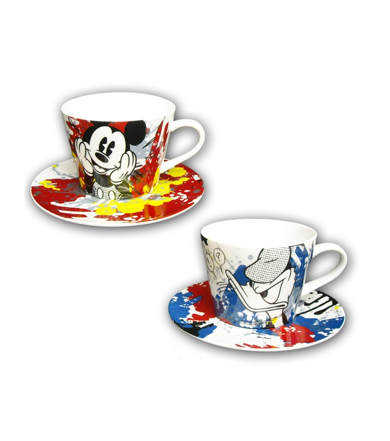 Mickey & Donald set 2 cappuccino cups with plate