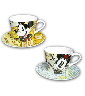 set 2 tazze con piattino Mickey & Minnie