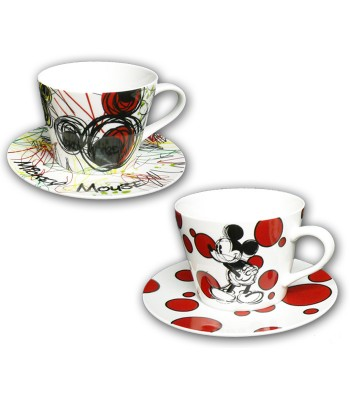 Mickey set 2 cappuccino cups with plate