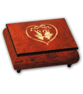 Musical Wood Box Inlay Swans