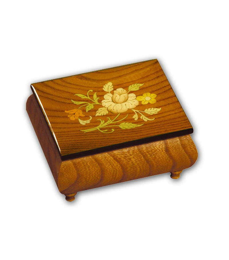 Musical Wood Box Inlay Flowers