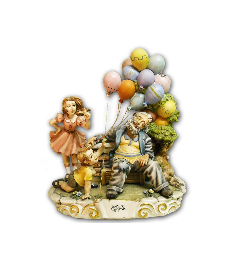 """Balloon Seller"" in Capodimonte Porcelain"""