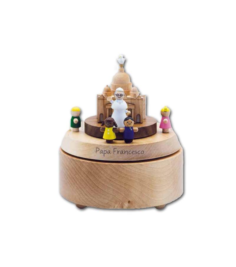 Carillon in legno Papa Francesco e Vaticano
