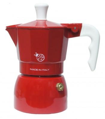"""Caffettiera Espresso modello """"Coccinella"""" colore rosso"""