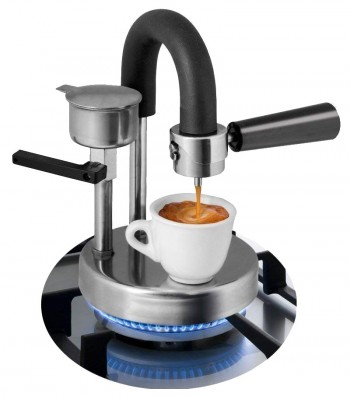 Espresso Coffee Maker Kamira and one cup ready with espresso