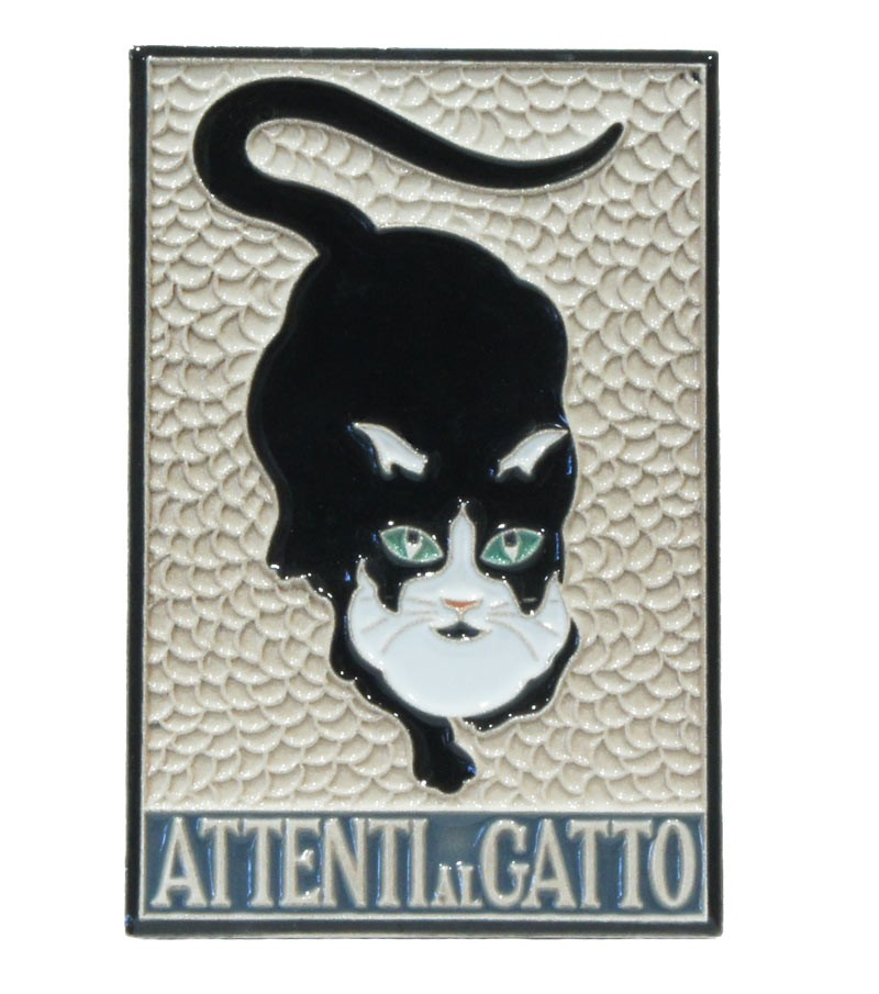 """Ceramic Tile """"Beware to the Cat"""""""