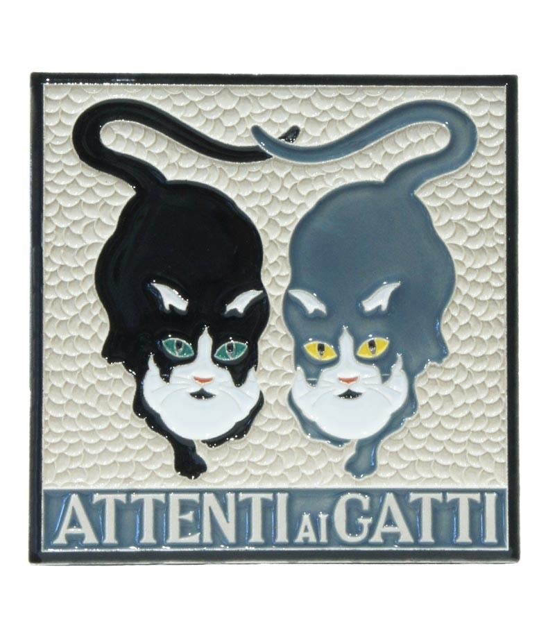 "Ceramic Tile ""Beware to the Cats"""