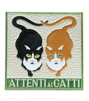 """Ceramic Tile """"Beware to the Cats"""""""