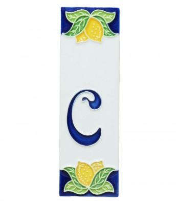 Lettera C in ceramica decoro limoni