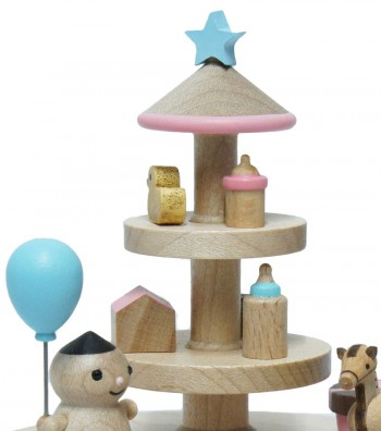 Wooden Music Box Baby and Toys close up view